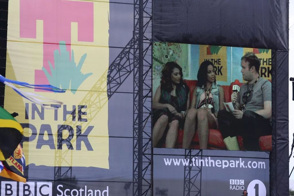 On the couch at T in the Park with The Saturdays